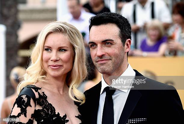 Actors Elspeth Keller and Reid Scott attend the 21st Annual Screen Actors Guild Awards at The Shrine Auditorium on January 25 2015 in Los Angeles...