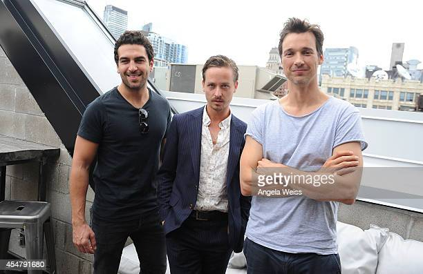 Actors Elyas M'Barek Tom Schilling and Florian David Fitz attend the German Talent Festival brunch during the 2014 Toronto International Film...
