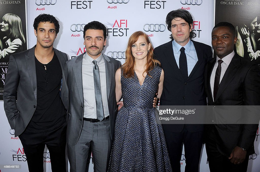 Actors Elyse Gabel, <a gi-track='captionPersonalityLinkClicked' href=/galleries/search?phrase=Oscar+Isaac&family=editorial&specificpeople=2275888 ng-click='$event.stopPropagation()'>Oscar Isaac</a>, <a gi-track='captionPersonalityLinkClicked' href=/galleries/search?phrase=Jessica+Chastain&family=editorial&specificpeople=653192 ng-click='$event.stopPropagation()'>Jessica Chastain</a>, director <a gi-track='captionPersonalityLinkClicked' href=/galleries/search?phrase=J.C.+Chandor&family=editorial&specificpeople=7452126 ng-click='$event.stopPropagation()'>J.C. Chandor</a> and <a gi-track='captionPersonalityLinkClicked' href=/galleries/search?phrase=David+Oyelowo&family=editorial&specificpeople=633075 ng-click='$event.stopPropagation()'>David Oyelowo</a> arrive at the AFI FEST 2014 Presented By Audi - Opening Night Gala Screening of 'A Most Violent Year' at Dolby Theatre on November 6, 2014 in Hollywood, California.