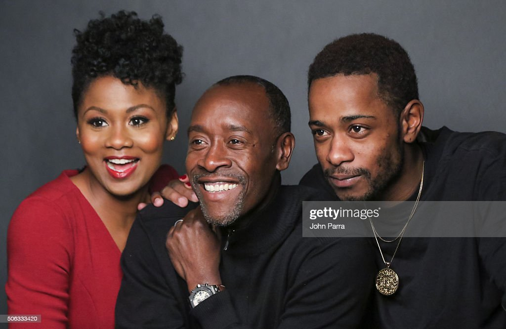 Actors Emayatzy Corinealdi, Don Cheadle and Keith Stanfield from the film 'Miles Ahead' pose for a portrait during the Hollywood Reporter 2016 Sundance Studio at Rock & Reilly's Day 1 on January 22, 2016 in Park City, Utah.