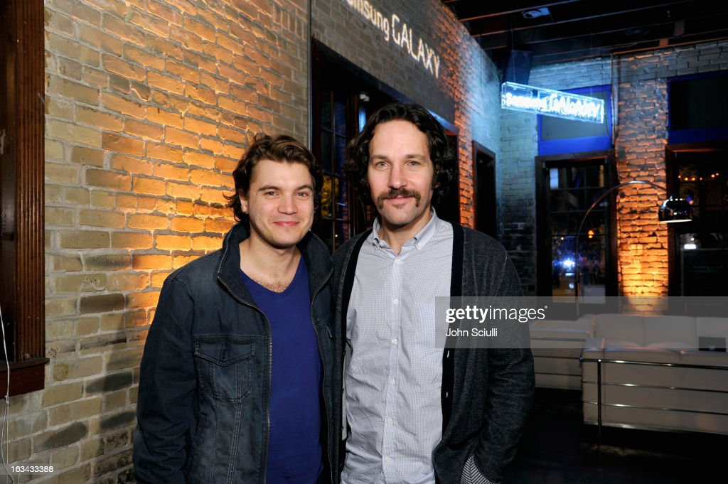 Actors <a gi-track='captionPersonalityLinkClicked' href=/galleries/search?phrase=Emile+Hirsch&family=editorial&specificpeople=210805 ng-click='$event.stopPropagation()'>Emile Hirsch</a> and <a gi-track='captionPersonalityLinkClicked' href=/galleries/search?phrase=Paul+Rudd&family=editorial&specificpeople=209014 ng-click='$event.stopPropagation()'>Paul Rudd</a> attend the Prince Avalanche dinner hosted by The Samsung Galaxy Experience at SXSW on March 9, 2013 in Austin, Texas.