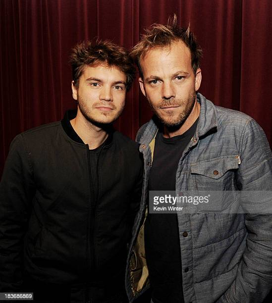 Actors Emile Hirsch and Stephen Dorff pose at a screening of Polsky Films' 'The Motel Life' at The Academy Little Theatre on October 8 2013 in...