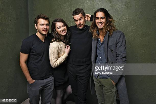 Actors Emile Hirsch Hailee Steinfeld Ethan Hawke and Avan Jogia from 'Ten Thousand Saints' pose for a portrait at the Village at the Lift Presented...