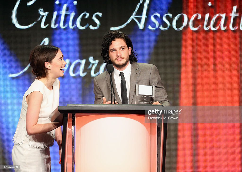 Actors <a gi-track='captionPersonalityLinkClicked' href=/galleries/search?phrase=Emilia+Clarke&family=editorial&specificpeople=7426687 ng-click='$event.stopPropagation()'>Emilia Clarke</a> and <a gi-track='captionPersonalityLinkClicked' href=/galleries/search?phrase=Kit+Harington&family=editorial&specificpeople=7470548 ng-click='$event.stopPropagation()'>Kit Harington</a> attend the 29th Annual Television Critics Association Awards at the Beverly Hilton Hotel on August 3, 2013 in Beverly Hills, California.