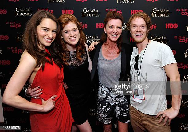 Actors Emilia Clarke Rose Leslie Michelle Fairley and Alfie Allen attend the 'Game Of Thrones' HBO celebration party inside the WIRED Cafe at Palm...