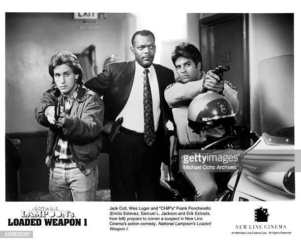 Actors Emilio Estevez Samuel L Jackson and Erik Estrada on set of the New Line Cinema movie 'Loaded Weapon 1' circa 1993