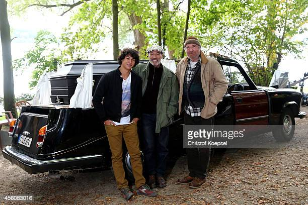 Actors Emilio Sakraya Moutaoukkil Heiner Lauterbach and Friedrich von Thun pose during a photocall on set for the film 'Forever Sauerland' on...