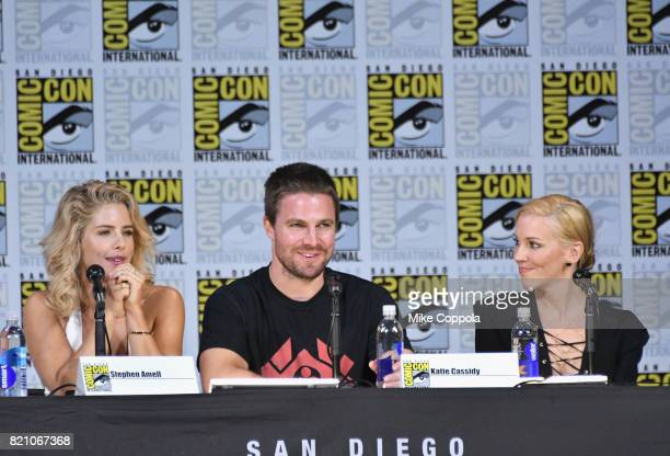 Actors Emily Bett Rickards Stephen Amell and Katie Cassidy attend the 'Arrow' Video Presentation And QA during ComicCon International 2017 at San...