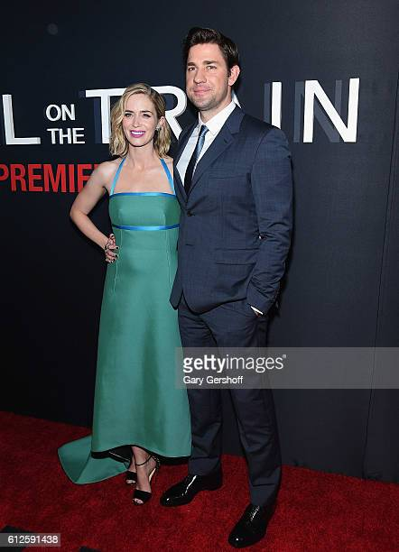 Actors Emily Blunt and John Krainski attend 'The Girl on the Train' New York premiere at Regal EWalk Stadium 13 on October 4 2016 in New York City