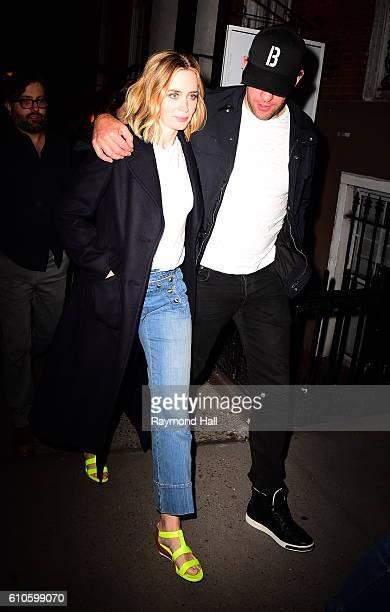 Actors Emily Blunt and John Krasinski are seen arriving at Jennifer Aniston's home on September 26 2016 in New York City