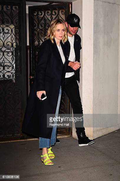 Actors Emily Blunt and John Krasinski are seen coming out of Jennifer Aniston's home on September 26 2016 in New York City