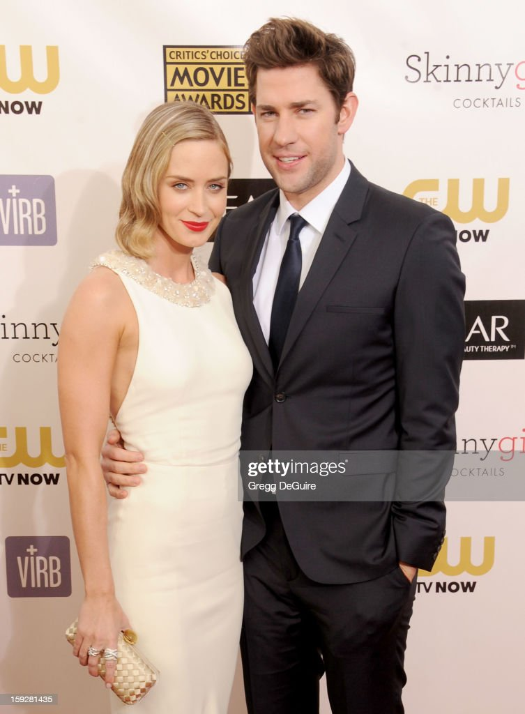 Actors <a gi-track='captionPersonalityLinkClicked' href=/galleries/search?phrase=Emily+Blunt&family=editorial&specificpeople=213480 ng-click='$event.stopPropagation()'>Emily Blunt</a> and <a gi-track='captionPersonalityLinkClicked' href=/galleries/search?phrase=John+Krasinski&family=editorial&specificpeople=646194 ng-click='$event.stopPropagation()'>John Krasinski</a> arrive at the 18th Annual Critics' Choice Movie Awards at The Barker Hangar on January 10, 2013 in Santa Monica, California.