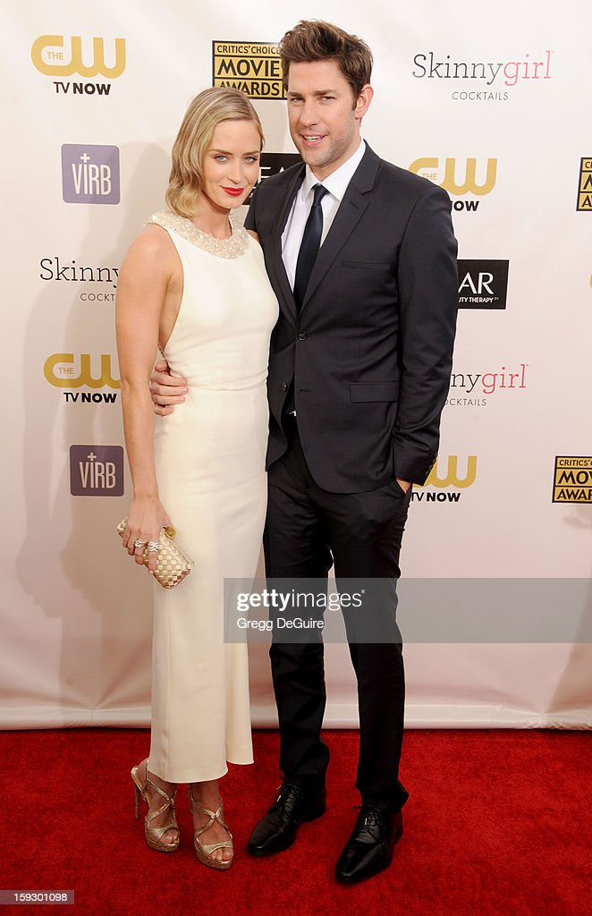 Actors Emily Blunt and John Krasinski arrive at the 18th Annual Critics' Choice Movie Awards at The Barker Hangar on January 10, 2013 in Santa Monica, California.