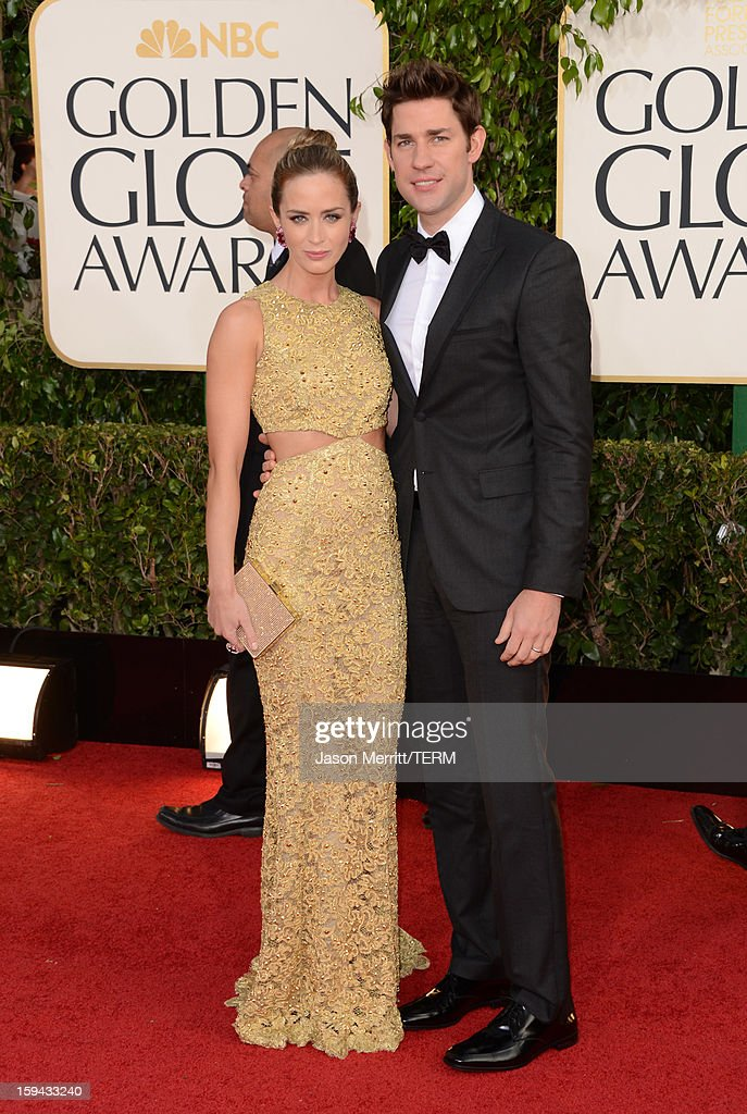 Actors Emily Blunt (L) and John Krasinski arrive at the 70th Annual Golden Globe Awards held at The Beverly Hilton Hotel on January 13, 2013 in Beverly Hills, California.