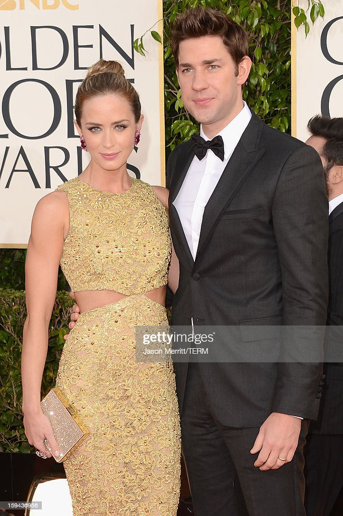 Actors Emily Blunt and John Krasinski arrive at the 70th Annual Golden Globe Awards held at The Beverly Hilton Hotel on January 13, 2013 in Beverly Hills, California.