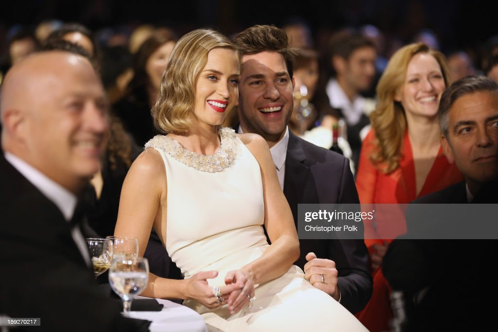 Actors <a gi-track='captionPersonalityLinkClicked' href=/galleries/search?phrase=Emily+Blunt&family=editorial&specificpeople=213480 ng-click='$event.stopPropagation()'>Emily Blunt</a> and <a gi-track='captionPersonalityLinkClicked' href=/galleries/search?phrase=John+Krasinski&family=editorial&specificpeople=646194 ng-click='$event.stopPropagation()'>John Krasinski</a> attend the 18th Annual Critics' Choice Movie Awards held at Barker Hangar on January 10, 2013 in Santa Monica, California.
