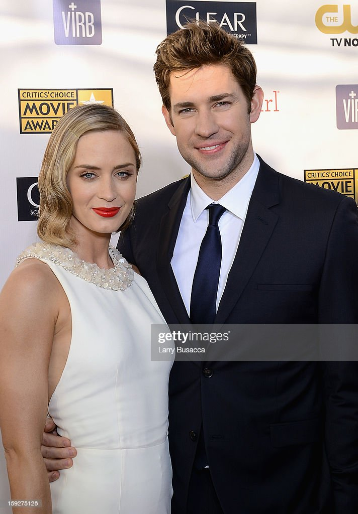 Actors Emily Blunt and John Krasinski attend the 18th Annual Critics' Choice Movie Awards held at Barker Hangar on January 10, 2013 in Santa Monica, California.
