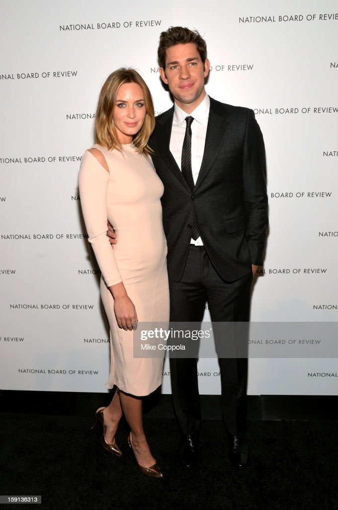 Actors <a gi-track='captionPersonalityLinkClicked' href=/galleries/search?phrase=Emily+Blunt&family=editorial&specificpeople=213480 ng-click='$event.stopPropagation()'>Emily Blunt</a> and <a gi-track='captionPersonalityLinkClicked' href=/galleries/search?phrase=John+Krasinski&family=editorial&specificpeople=646194 ng-click='$event.stopPropagation()'>John Krasinski</a> attend the 2013 National Board Of Review Awards Gala at Cipriani 42nd Street on January 8, 2013 in New York City.