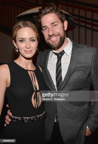 Actors Emily Blunt and John Krasinski attend the after party for the premiere of Cinedigm's 'Arthur Newman' at on April 18 2013 in Hollywood...