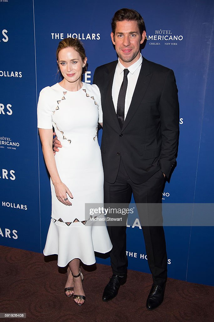 Actors Emily Blunt and John Krasinski attend 'The Hollars' New York screening at Cinepolis Chelsea on August 18 2016 in New York City