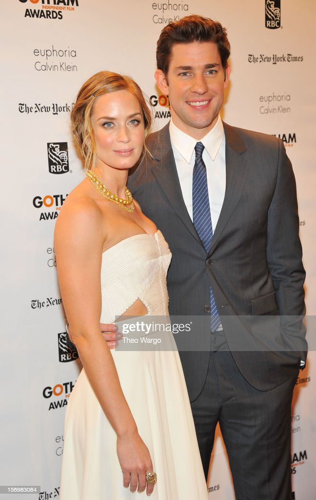 Actors Emily Blunt (L) and John Krasinski attend the IFP's 22nd Annual Gotham Independent Film Awards at Cipriani Wall Street on November 26, 2012 in New York City.