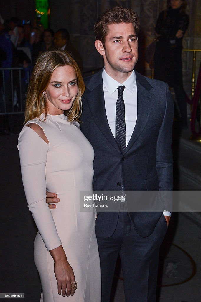 Actors <a gi-track='captionPersonalityLinkClicked' href=/galleries/search?phrase=Emily+Blunt&family=editorial&specificpeople=213480 ng-click='$event.stopPropagation()'>Emily Blunt</a> (L) and <a gi-track='captionPersonalityLinkClicked' href=/galleries/search?phrase=John+Krasinski&family=editorial&specificpeople=646194 ng-click='$event.stopPropagation()'>John Krasinski</a> enter Cipriani 42nd Street on January 8, 2013 in New York City.