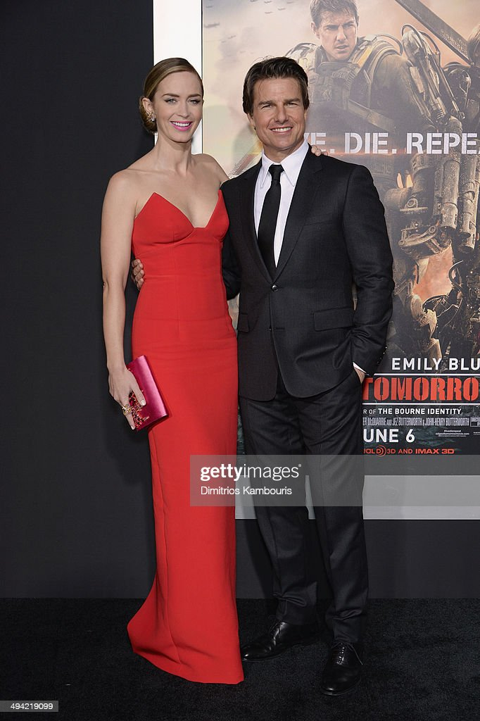 Actors <a gi-track='captionPersonalityLinkClicked' href=/galleries/search?phrase=Emily+Blunt&family=editorial&specificpeople=213480 ng-click='$event.stopPropagation()'>Emily Blunt</a> and <a gi-track='captionPersonalityLinkClicked' href=/galleries/search?phrase=Tom+Cruise&family=editorial&specificpeople=156405 ng-click='$event.stopPropagation()'>Tom Cruise</a> attend the 'Edge Of Tomorrow' red carpet repeat fan premiere tour at AMC Loews Lincoln Square on May 28, 2014 in New York City.