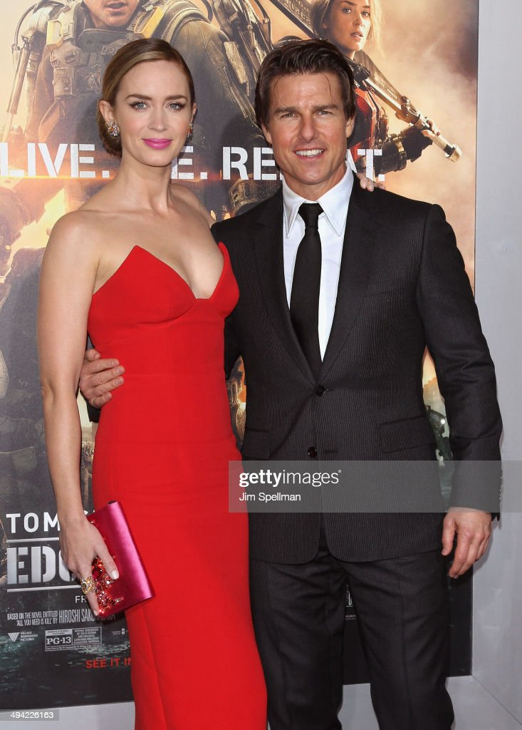 Actors Emily Blunt and Tom Cruise attend the 'Edge Of Tomorrow' red carpet repeat fan premiere tour at AMC Loews Lincoln Square on May 28, 2014 in New York City.