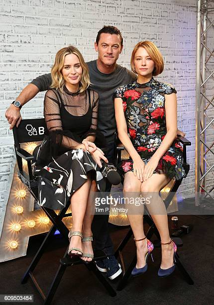 Actors Emily Blunt Luke Evans and Hayley Bennett pose for a photo as they take part in AOL's BUILD series LONDON at AOL London on September 21 2016...