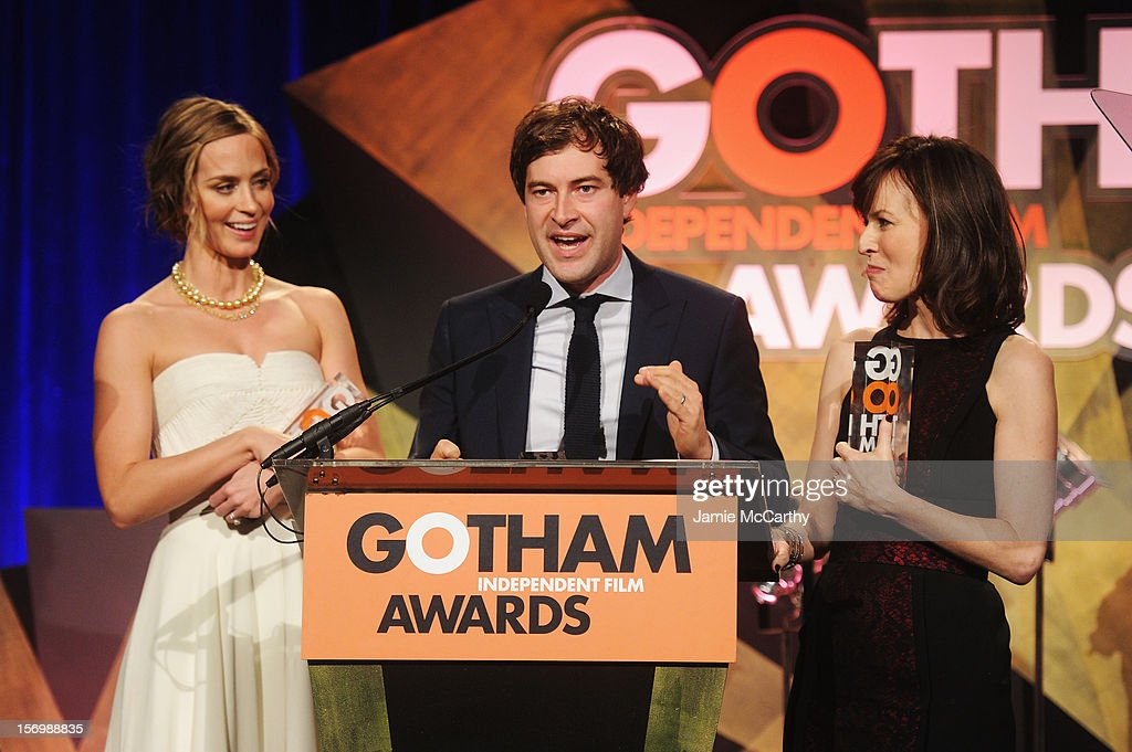 Actors Emily Blunt, Mark Duplass and Rosemarie DeWitt attend the IFP's 22nd Annual Gotham Independent Film Awards at Cipriani Wall Street on November 26, 2012 in New York City.
