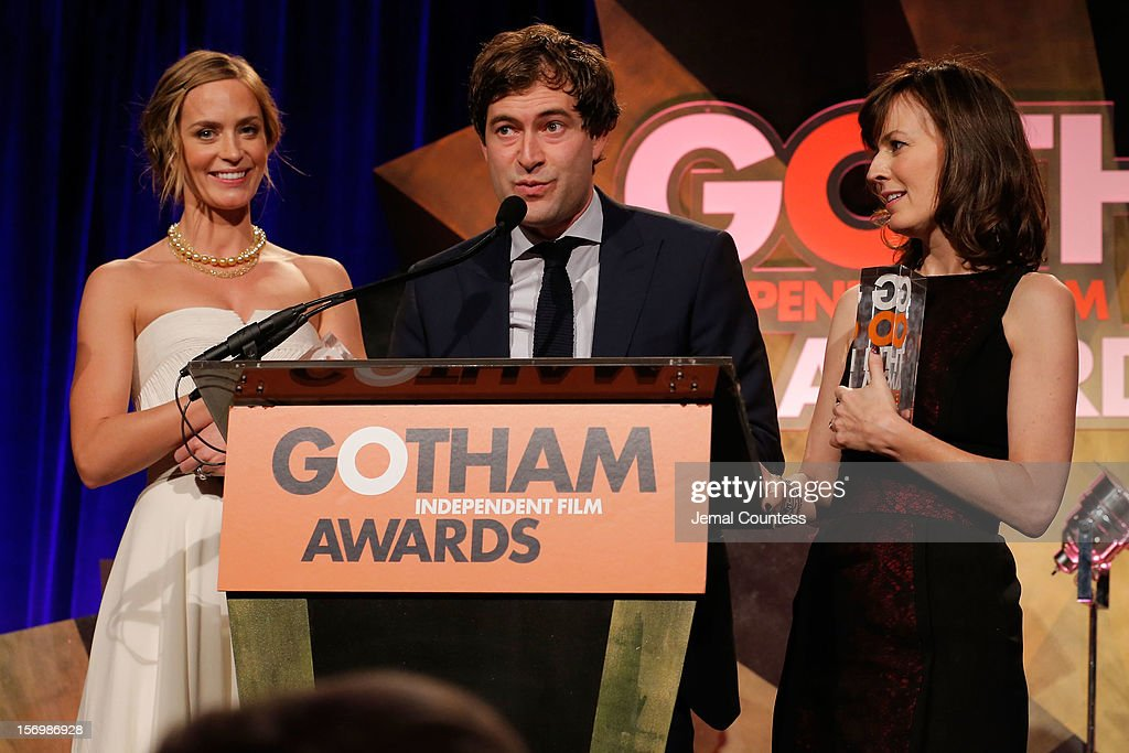 Actors Emily Blunt, Mark Duplass, and Rosemarie DeWitt speak onstage at the IFP's 22nd Annual Gotham Independent Film Awards at Cipriani Wall Street on November 26, 2012 in New York City.
