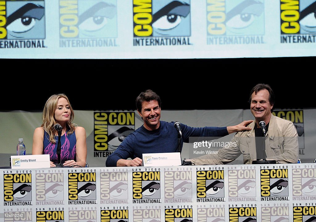 Actors Emily Blunt, Tom Cruise and Bill Paxton speak onstage at the Warner Bros. and Legendary Pictures preview of 'Edge of Tomorrow' during Comic-Con International 2013 at San Diego Convention Center on July 20, 2013 in San Diego, California.