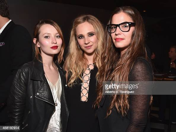 Actors Emily Browing Juno Temple and Brittany Eustis attend the after party for the premiere of RADIUSTWC's 'Horns' at Wood Vine on October 30 2014...