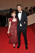 Actors Emily Browning and Max Irons attend the 'Alexander McQueen Savage Beauty' Costume Institute Gala at The Metropolitan Museum of Art on May 2...