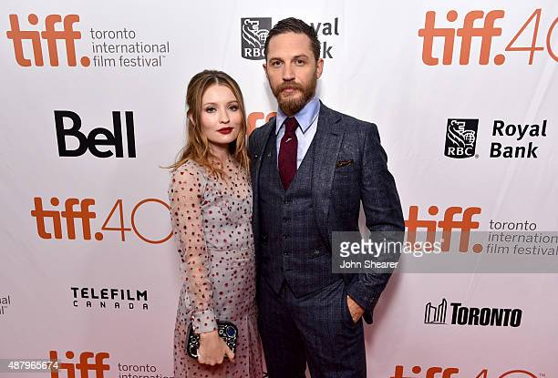 Actors Emily Browning and Tom Hardy attends the 'Legend' gala screening during the 2015 Toronto International Film Festival at Roy Thomson Hall on...