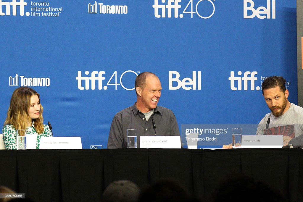 Actors Emily Browning, writer/director Brian Helgeland and actor Tom Hardy speak onstage during the 'Legend' press conference at the 2015 Toronto International Film Festival at TIFF Bell Lightbox on September 13, 2015 in Toronto, Canada.