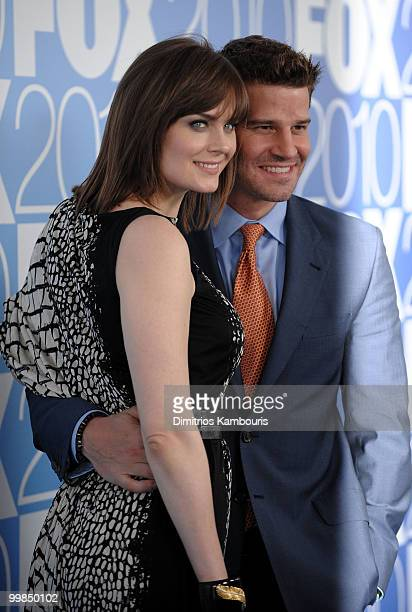 Actors Emily Deschanel and David Boreanaz attend the 2010 FOX Upfront after party at Wollman Rink Central Park on May 17 2010 in New York City