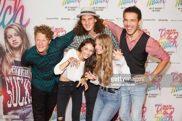 Actors Emily Kusche and Flora Li Thiemann and the band Kicker Dibs attend the 'Tigermilch' premiere at Kino in der Kulturbrauerei on August 15 2017...