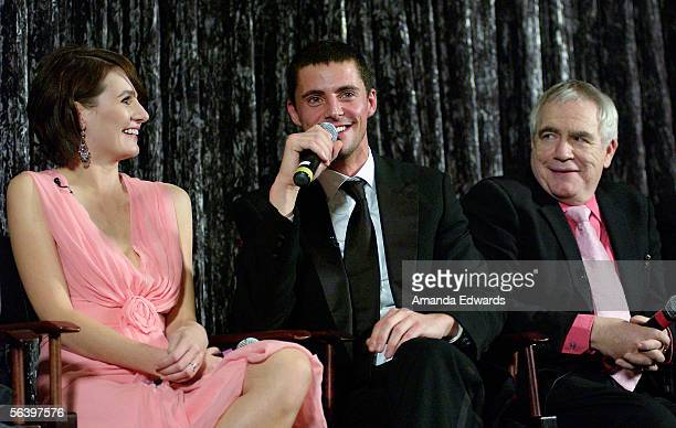 Actors Emily Mortimer Matthew Goode and Brian Cox participate in a QA session at the Variety Screening Series of 'Match Point' at the Arclight...