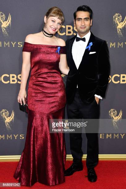 Actors Emily V Gordon and Kumail Nanjiani attend the 69th Annual Primetime Emmy Awards at Microsoft Theater on September 17 2017 in Los Angeles...