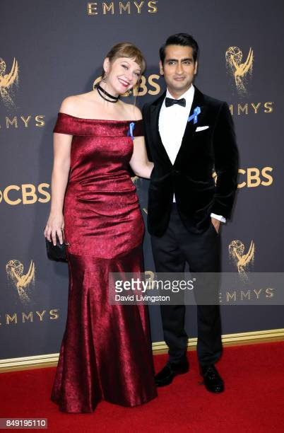 Actors Emily V Gordon and Kumail Nanjiani attend the 69th Annual Primetime Emmy Awards Arrivals at Microsoft Theater on September 17 2017 in Los...