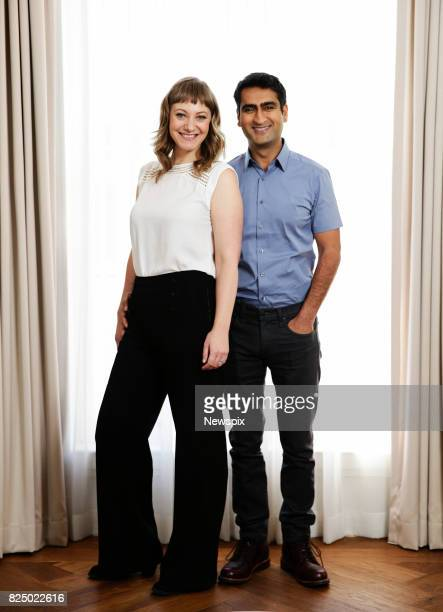 SYDNEY NSW Actors Emily V Gordon and Kumail Nanjiani pose during a photo shoot in Sydney New South Wales