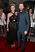 Actors Emily VanCamp and Chris Evans attend the premiere of Marvel's 'Captain America Civil War' at Dolby Theatre on April 12 2016 in Los Angeles...