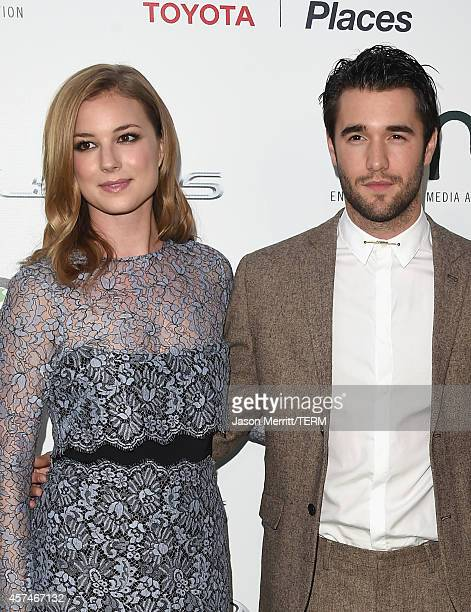 Actors Emily VanCamp and Joshua Bowman attend the 24th Annual Environmental Media Awards presented by Toyota and Lexus at Warner Bros Studio on...