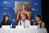Actors Emily Watson Tom Felton and Gugu Mbatha Raw speak onstage at 'Belle' Press Conference during the 2013 Toronto International Film Festival at...