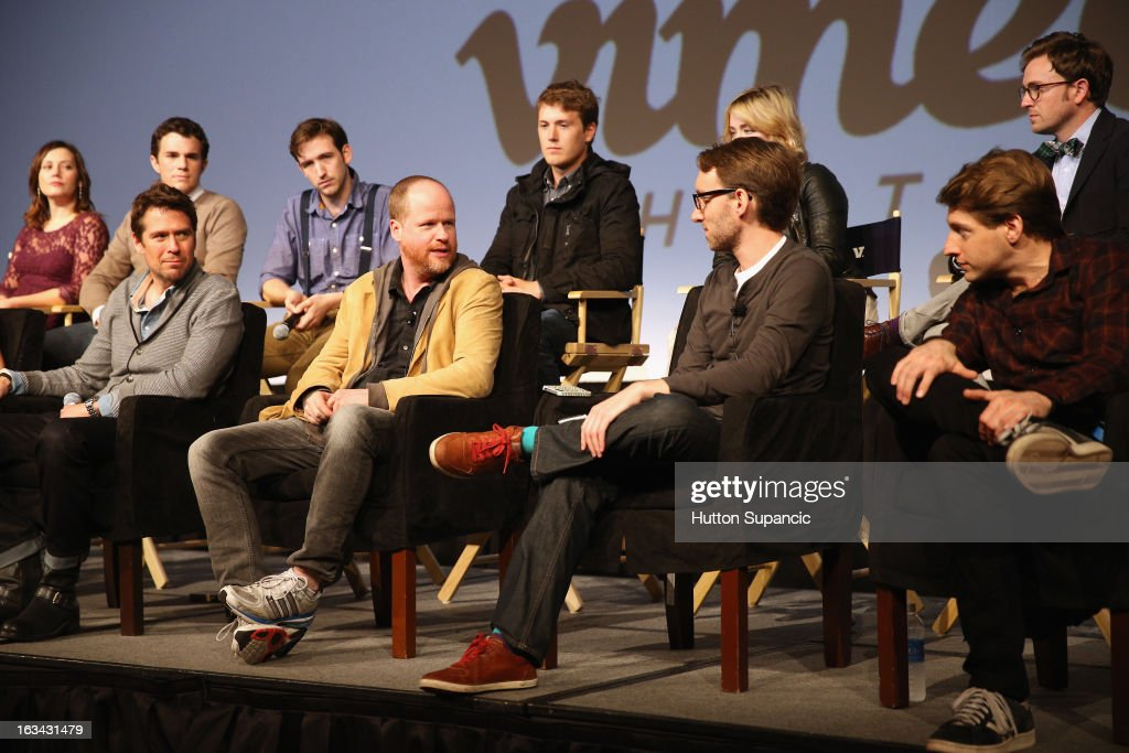 Actors Emma Bates, Nick Kocher, Brian McElhaney, Spencer Treat Clark, Ashley Johnson and Tom Lenk (front row L-R) Actor Alexis Denisof, writer/director Joss Whedon, Adam B. Vary, writer Entertainment Weekly and actor Fran Kranz speak onstage at the Much Ado About Much Ado Panel during the 2013 SXSW Music, Film + Interactive Festival at Austin Convention Center on March 9, 2013 in Austin, Texas.