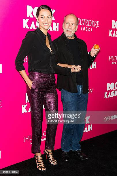 Actors Emma Heming and Bruce Willis attend the 'Rock The Kasbah' New York Premiere at AMC Loews Lincoln Square on October 19 2015 in New York City