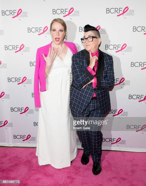 Actors Emma Myles and Lea DeLaria attend the 2017 Breast Cancer Research Foundation Hot Pink Party at Park Avenue Armory on May 12 2017 in New York...