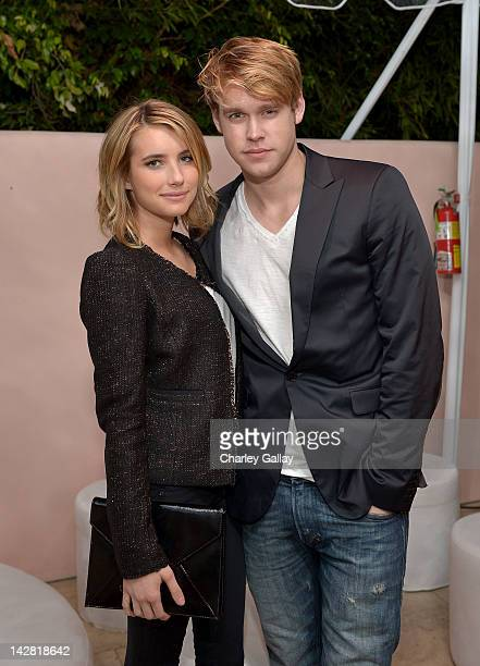 Actors Emma Roberts and Chord Overstreet attend the Conde Nast Traveler Hot List Party at the Hotel BelAir on April 12 2012 in Los Angeles California
