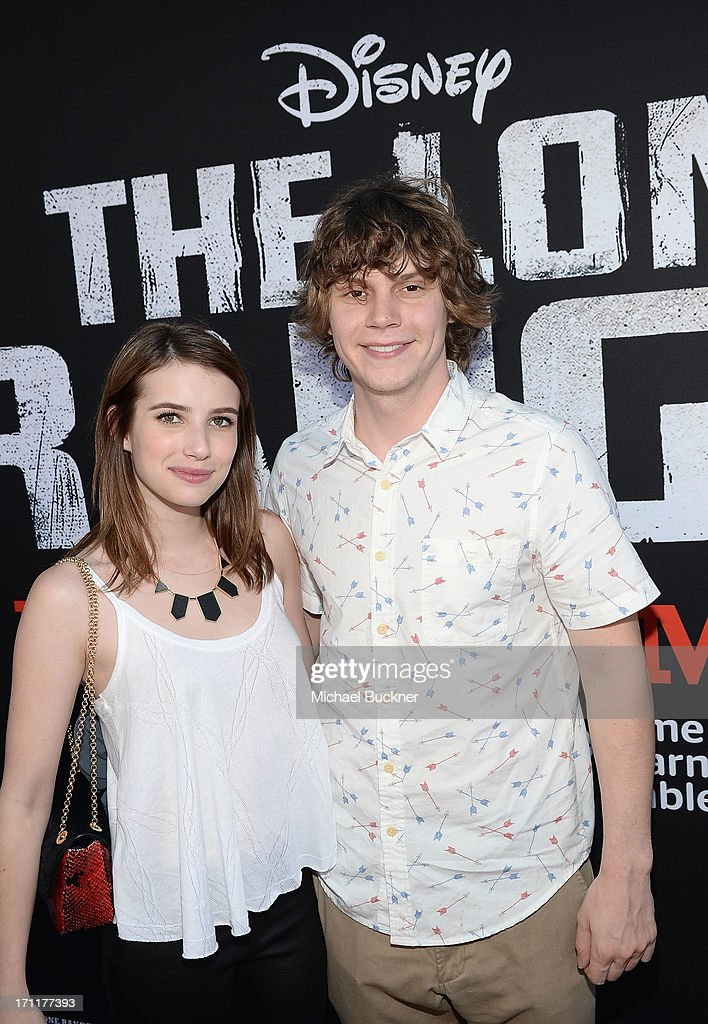 Actors <a gi-track='captionPersonalityLinkClicked' href=/galleries/search?phrase=Emma+Roberts&family=editorial&specificpeople=226535 ng-click='$event.stopPropagation()'>Emma Roberts</a> and <a gi-track='captionPersonalityLinkClicked' href=/galleries/search?phrase=Evan+Peters&family=editorial&specificpeople=2301160 ng-click='$event.stopPropagation()'>Evan Peters</a> attend The World Premiere of Disney/Jerry Bruckheimer Films' 'The Lone Ranger' at Disney California Adventure Park on June 22, 2013 in Anaheim, California.